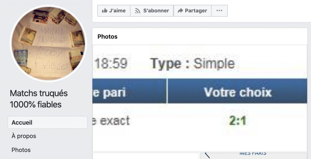 Arnaque match truqué facebook