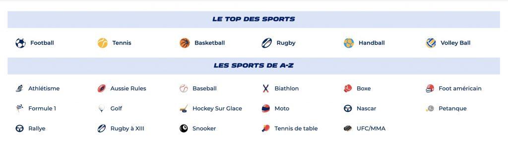 eventail des sports parions sport
